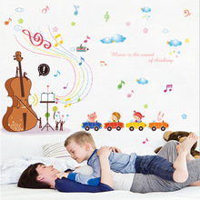 The Children Theme Home Decoration Wall Decals Creative Violin And Musical Note Wall Stickers Children Room Bedroom Wallpaper