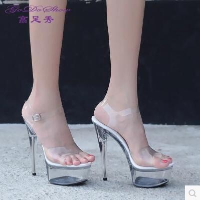 Shoes Woman Sandals Summer Style 2017 Transparent Crystal Sandals Sexy Waterproof Super High Heel 13-15cm Plus-size 35-44<br><br>Aliexpress