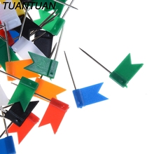 TUANTUAN 100PCS 7 Colors for a world map having geography lessons pinning up travel photos Map Flag Push Pins Tacks Assorted(China)