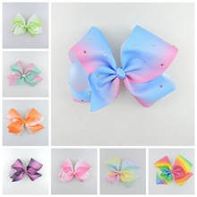 50pcs Jeweled Pastel ombre ribbon 18cm Signature hair bows clips Rainbow Rhinestone Dance Cheerleader Pageant Accessories HD3474