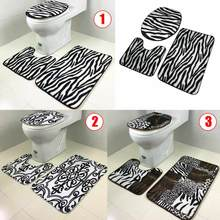 2016 New 3PCS Lid Toilet Seat Cover Pedestal Rug Bathroom Mat Carpet for Household Car Seat