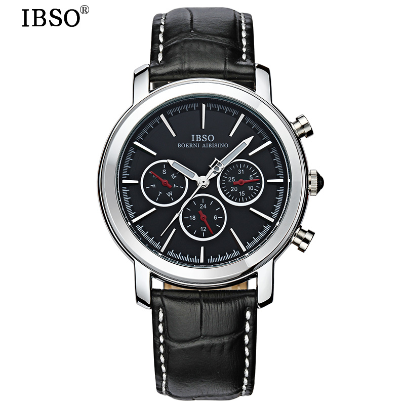 IBSO Complete Calendar Mens Watches Week Display Genuine Leather Strap Men To Watch Hours Display Genuine Leather Strap Relojes<br>