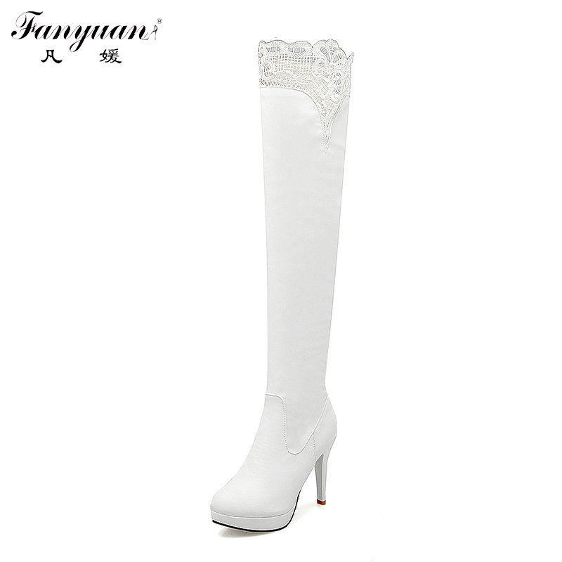 2017 Autumn/Winter Womens Elegant Shoes Zip Thin High Heels Fashion Long Boots Female Round Toe with Lace Over the Knee Boots<br><br>Aliexpress