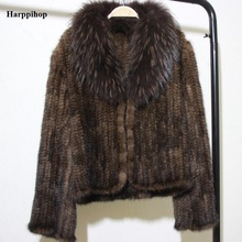 Real Fur Coat raccoon fur collar Women Winter Natural Fur Jacket Hooded Genuine Knitted Mink Fur Coat Outerwear middle Size(China)