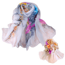 Jimshop Chiffon silk scarf 2016 Women Ladies Floral Scarf Soft Wrap all-match air conditioning cape Long Shawl Scarves Wholesale