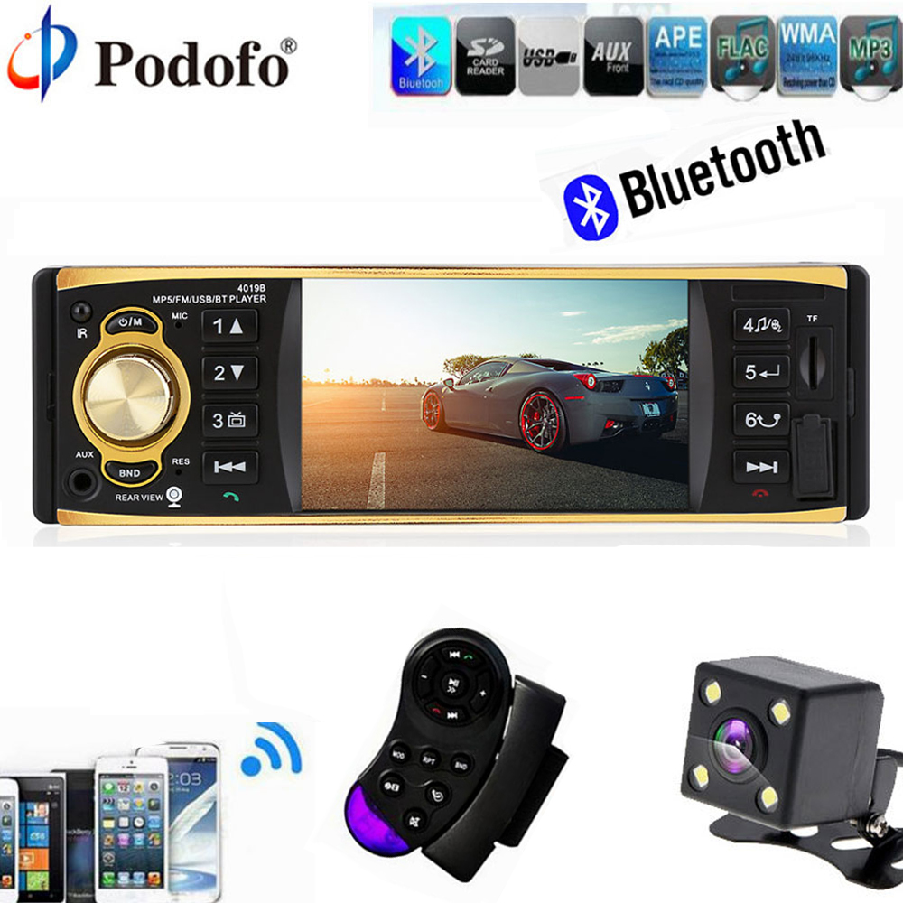 Podofo Car Radio Audio Stereo 1Din 4.1 Stereo Player MP3 MP5 USB AUX FM Bluetooth Car Audio with Rearview Camera Remote Control<br>