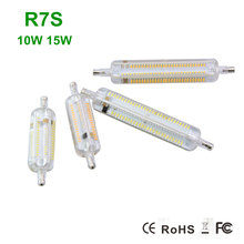 2016 New 1Pcs Silicone R7S LED Lamp 10W 78MM 15W 118MM Bulb R7S Lamp 200~240V 360 degree Angle Perfect Replace Halogen Light
