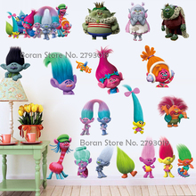 New Cartoon Trolls Stickers Vinyl Wall Decals Dreamwork New Movie Decals Stickers for Kids Room Trolls Stickers Home Decor