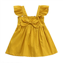 Pudcoco Baby Girls Clothes Pure Yellow Bow Kids Dresses For Girls Summer Baby Girl Clothing Casual Backless Toddler Girl Dresses
