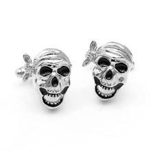 Skeleton Cufflinks Silver Plated Engraved Cuff Links for Shirt(China)