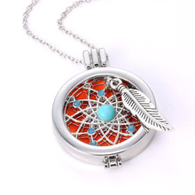 DIY Aromatherapy Necklace Perfume Locket Fragrance Oil Dream Catcher Pendant Necklace For Women Diffuser Necklace Jewelry Gift(China)