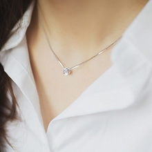Exquisite rhinestone chain single zircon 925 pure silver necklace female fashion accessories silver jewelry