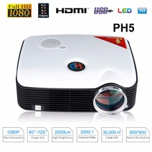 Excelvan PH5 Projector 2500 Lumens Multimedia Home Cinema AV/TV/VGA/HDMI for DVD/PC/Tablet Support 1080P Proyector UK Plug