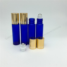 Free shipping 3 x 10ml essential oil glass bottle, 1/3 oz blue glass roll on bottle, 10cc cobalt blue perfume roller vial