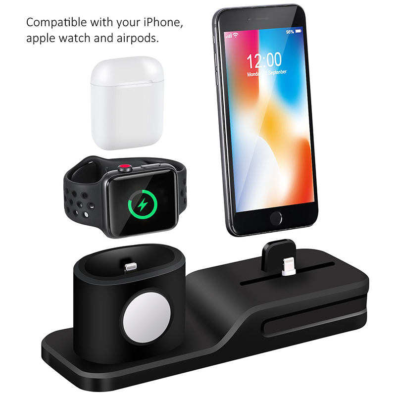 3 in 1 Charging Dock Holder For Iphone X Iphone 8 Iphone 7 Iphone 6 Silicone charging stand Dock Station For Apple watch Airpods (4)