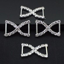 Butterfly Buckles Silver Plated Rhinestone Ribbon Buckle Sliders Connector Piercing Indiano Buckles For Shoes AE466(China)
