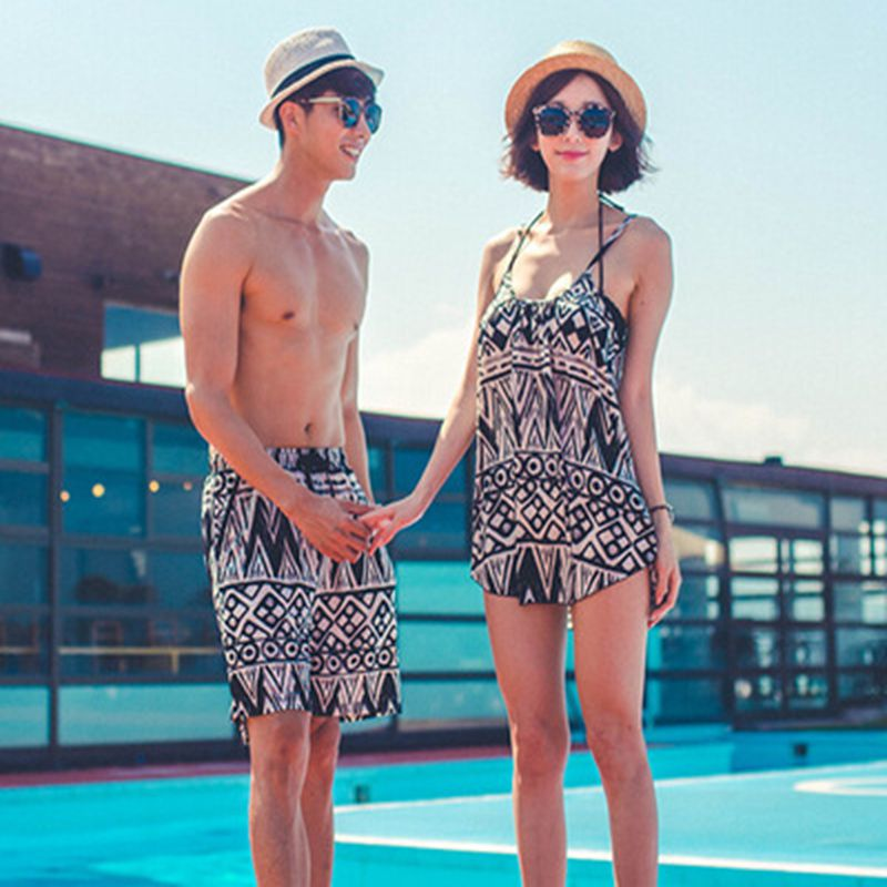 Couple swimwear lovers swimsuit flower bikini set three pieces swimsuit family beachwear man trucks bodysuit  light cover ups<br><br>Aliexpress