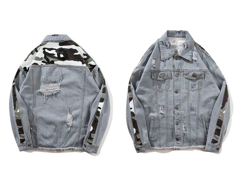 Camouflage Patchwork Ripped Denim Jacket 1