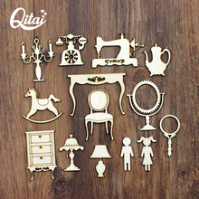 QITAI 28pcs/lot Wooden Gift to Your Daughter Mirror Trojans Candlestick Romantic Creative Decoration DIY Home Decor Crafts WF255