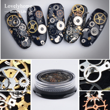 1 Box Steampunk Gear Wheel 3D Nail Art Decoration Alloy Tips Industrial Machinery Components Parts Rock Style Metal Studs(China)