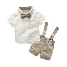 (CLOTH FOR LITTLE) Baby boys Clothing Sets infant bow tie+white Shirt+short overalls 3pcs/set newborn clothes grey black Straps(China)