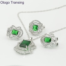 Otogo Transing Silver Color Romantic Geometric Shaped Jewelry Sets Green crystal AAA Zircon For Necklace/Earring/Ring S187(China)