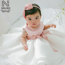 Cute Baby Dress Pink with White Tutu Dress Sleeveless Party Dress with Pearls for Age below 2Years Old Baby Clothing
