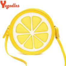 Yogodlns New Arrival Round Lemon Orange Pattern Zipper Crossbody Women Messenger Bag Satchel Purse Shoulder Mini Bags Ladies