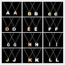 "Stainless Steel Uppercase Letter""A B C D E F G H I J K L M N O P Q R S T U V W X Y Z""Pendant Necklaces Fashion Women Jewelry(China)"