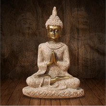 1PC Nature sandstone Sitting Buddha Figure Resin Craft Manual Carving Figurine Buddhist Style Home Decoration