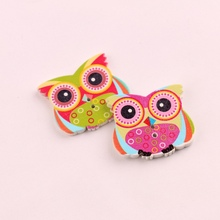 Animal Owl Big Button Coat Wooden Scrapbooking Child Cardigan Pullover Accessories For Costura 50pcs 32*28mm New Year Decoration