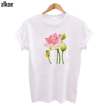 2017 spring and summer Harajuku Flamingo Lotus T shirt Funny Print Short Sleeve Leisure O Neck Shirts Tee