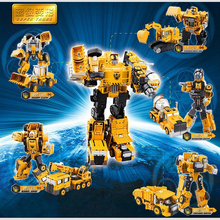 Transformation Robot Engineering Car Deformation Toy 2 in 1 Metal Alloy Construction Vehicle Truck Assembly Robot Kid Toys