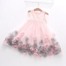 2016 New Summer Girls Kids Rose Flower Princess Sleeveless Party Elegant Tutu Lace Dress Cute Baby Clothes Children Clothing