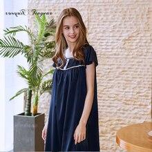 7487f16adf Tinyear Women s satin nightgowns Short sleeve Round neck Ladies sleepwear  Sleep nightshirts Beautiful Nighties(China