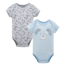 2pcs/set Baby Boys Girls Short Sleeve Rompers Summer 2017 Newborn Infant's Clothes Toddler Costume Jumpsuit KF109