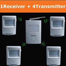 Driveway Wireless Motion Alarm and Security Alert with 1 Receiver and 4 infrared PIR Sensor detectors