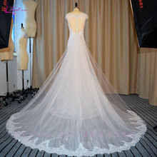 Buy Waulizane Vintage Regular Mermaid Wedding Dresses Ivory Elegant Appliques Chapel Train Scalloped Neckline Wedding Gowns for $167.18 in AliExpress store