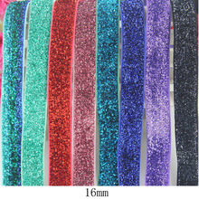 9mm/16mm high quality elastic stretch glitter velvet ribbon Wedding Christmas Decoration ribbons Gift Wrap band 20 yards(China)