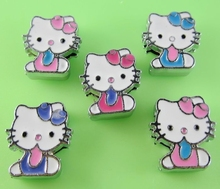"8MM Hello Kitty Slide Charms "" (10 pieces/lot) Slide Charms Fit DIY Wristband & Bracelet -05(China)"