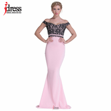 IDress Club Factory High Quality Runway Designer Maxi Evening Party Dress Summer Off Shoulder Pink Patchwork Lace Long Dress(China)