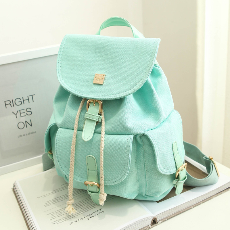 Candy Color Canvas Backpack For Teenager Girls Leisure Drawstring Fresh Travel Bags Big Capacity Durable Mujer Mochila Escolar<br><br>Aliexpress