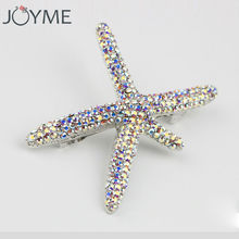 Women's Shell Starfish Hairpins with Full Colorful Rhinestone Hair Pins Accessories(China)