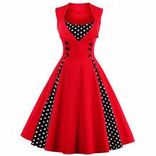 S-4XL Women Robe Pin Up Dress Retro 2017 Vintage 50s 60s Rockabilly Dot Swing Summer female Dresses Elegant Tunic Vestido(China)