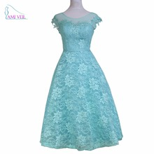 Vestido Ice Blue Lace Sheer Appliques Elegant Short Prom Dresses Red Formal Party Evening Gowns Tea Length Robe De Soiree GQ70