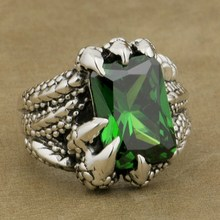 925 Sterling Silver Dragon Claw Ring Green CZ Mens Biker Punk Style 8E306A(China)