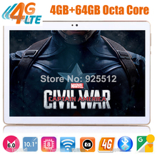 328 Seller Unlock 4G FDD LTE 10 inch tablet Octa Core Android 6.0 MID Computer Pad 4GB RAM 64GB ROM 1920*1200 IPS Tablet 10.1(China)