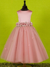 Lower Price Pink Color Cheap Flower Girls Dresses 2016 For Weddings Ball Gown vestido de noiva Girls Pageant First Communion