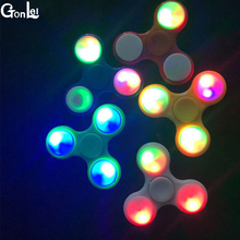 (GonLeI )100pcs/Lot LED Flash Light EDC Hand Spinner Anti Reduce Stress Toy With Switch ADD ADHD Autism Boring Annoying