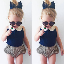 Girls Fashion floral casual suit children clothing set outfit 2016 summer new kids clothes set